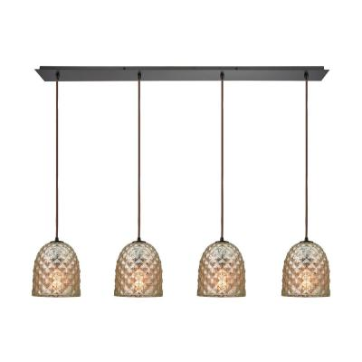 Brimley 4-Light Linear Pan in Oil Rubbed Bronze with Raised Diamond Texture Mercury Glass Pendant