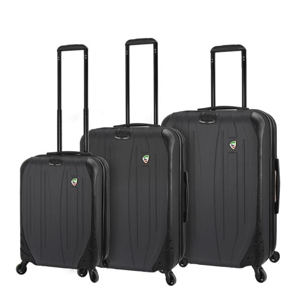 Mia Toro Compaz 3-Piece Black Hardside Spinner Luggage Set M1524-3PC-BLKNN
