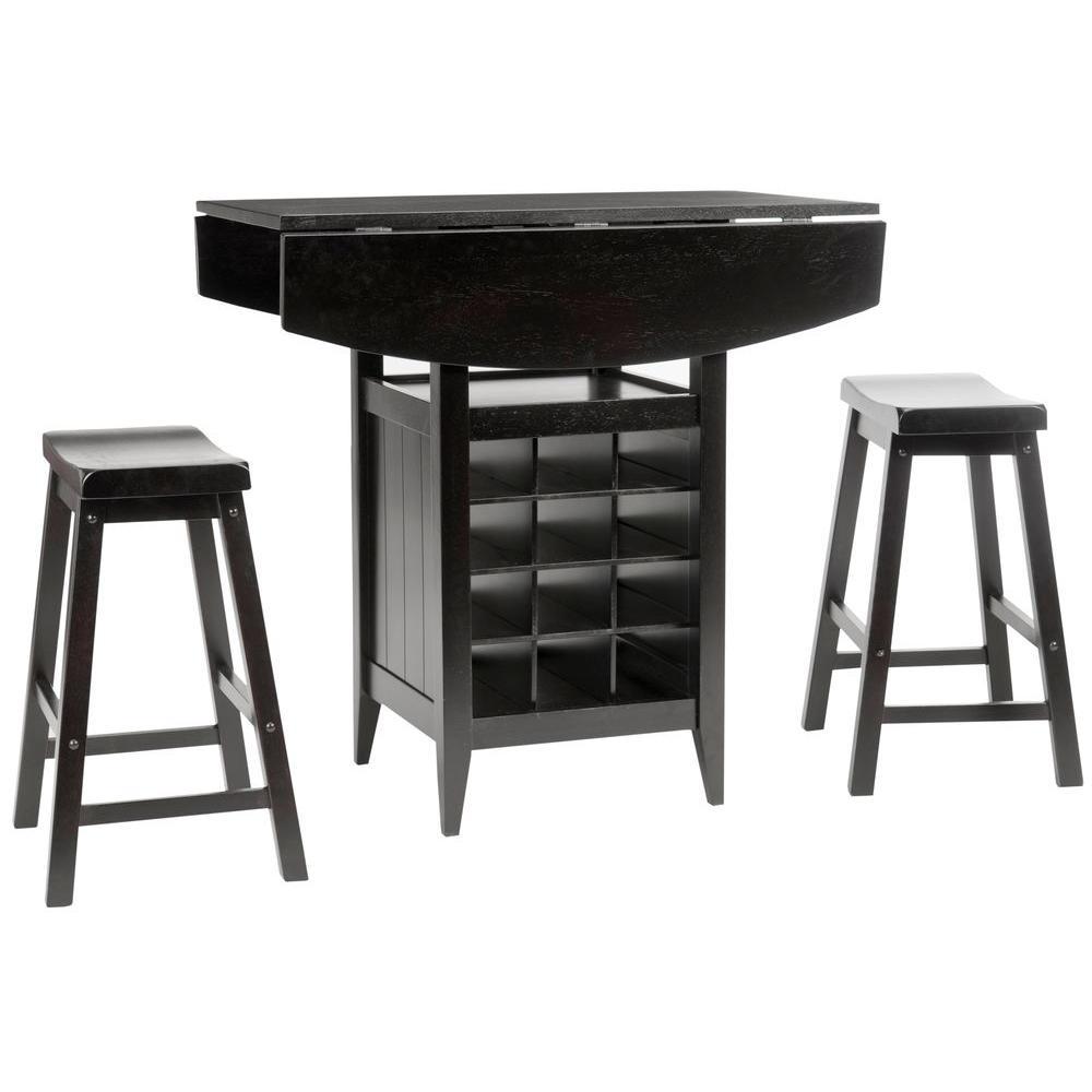 Emeric 3-Piece Espresso Bar Table Set