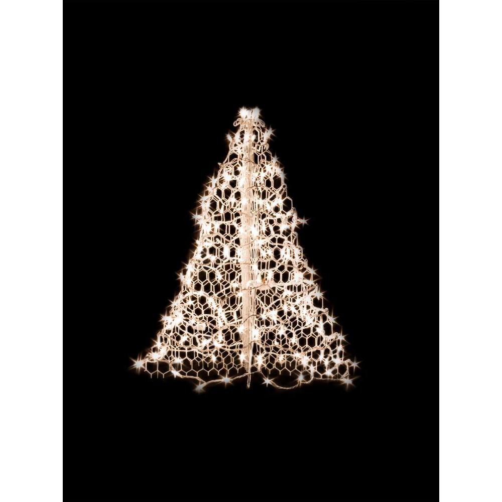 3 ft. Indoor/Outdoor Pre-Lit Incandescent Artificial Christmas Tree with White