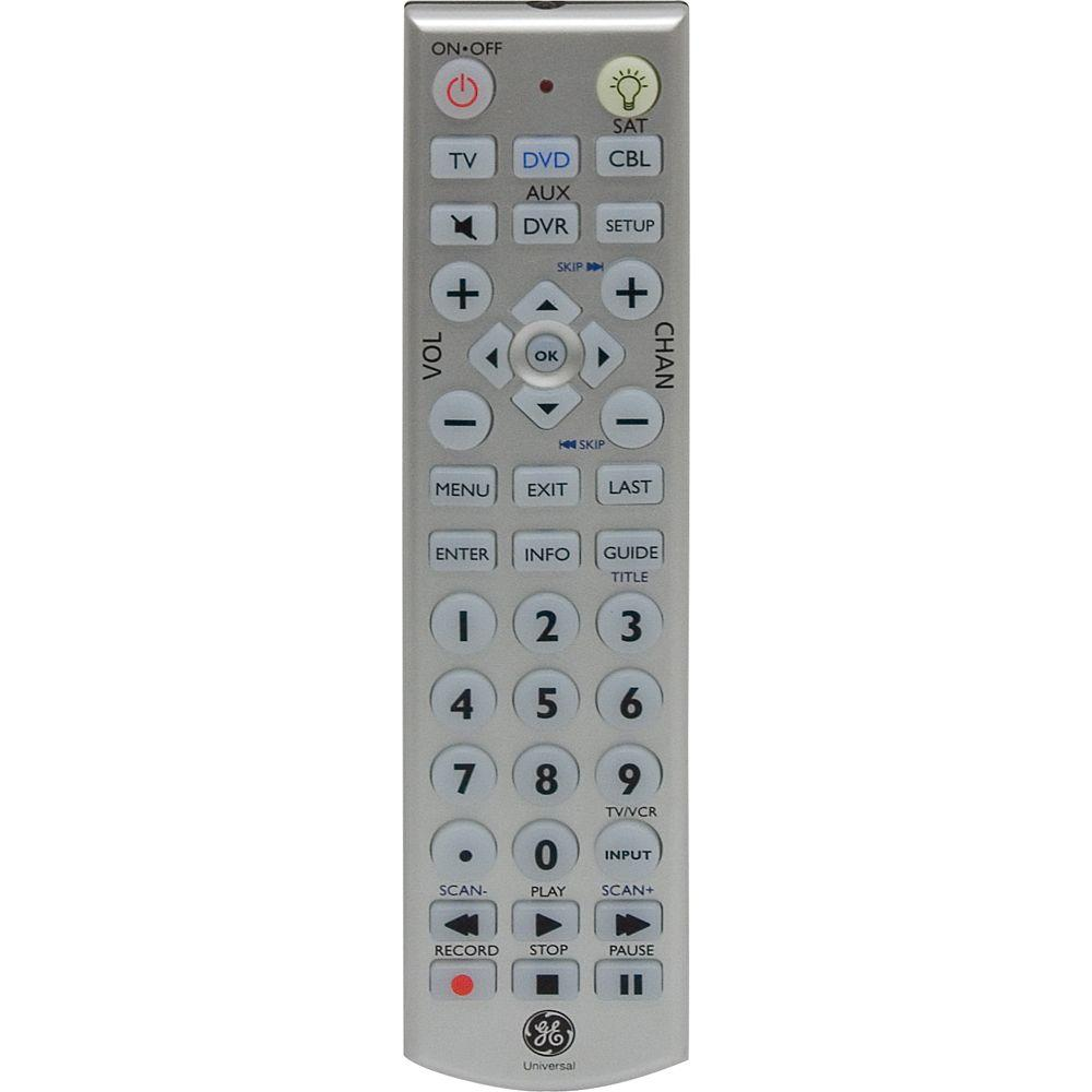 Ge universal remote with led backlight 4 piece 24929 for 1000 in 1 universal a c remote code table