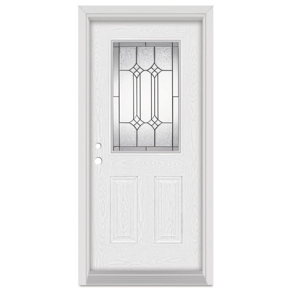 36 in. x 80 in. Orleans Right-Hand 1/2 Lite Patina Finished Fiberglass Oak Woodgrain Prehung Front Door Brickmould