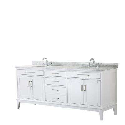 Margate 80 in. W x 22 in. D Bath Vanity in White with Marble Vanity Top in White Carrara with White Basins