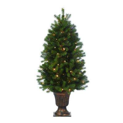 4 ft. Indoor Pre-Lit Downswept Douglas Fir Artificial Christmas Entrance Tree