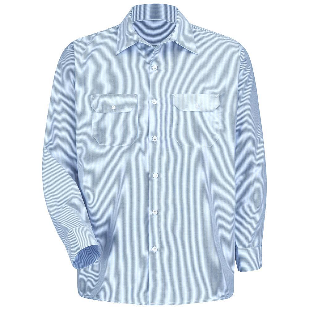 Men's Size 4XL (Tall) White/Blue Pin Stripe Deluxe Denim Shirt
