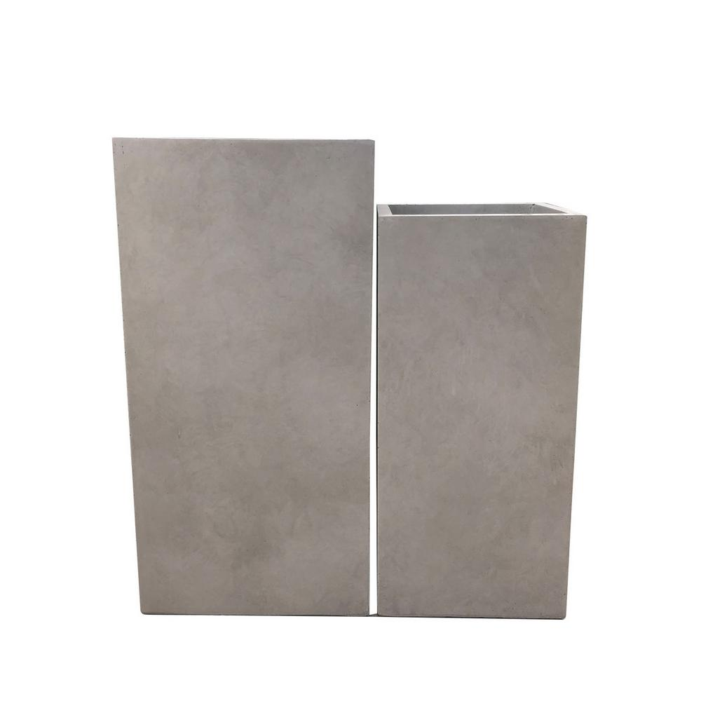 28 in. and 24 in. Tall Weathered Concrete Lightweight Durable Modern Square Outdoor Planter Set