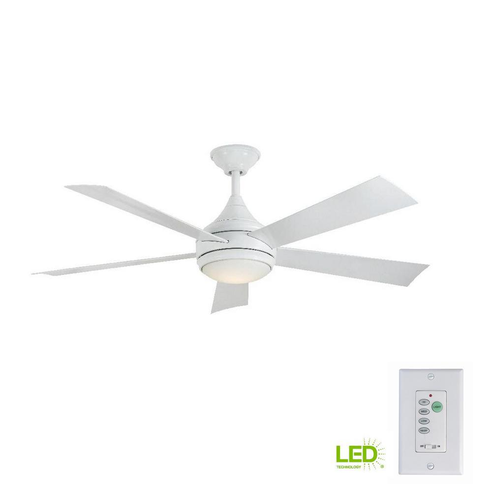 Home decorators collection hanlon 52 in led indoor outdoor stainless steel white ceiling fan