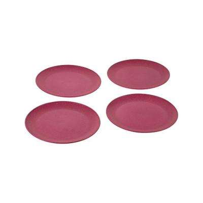 EVO Sustainable Goods 8 in. Pink Eco-Friendly Wood-Plastic Composite Plate (Set of 4)