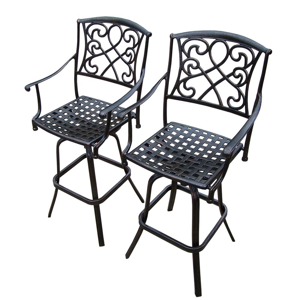 2 Piece Grace Cast Aluminum Swivel Patio Bar Stools