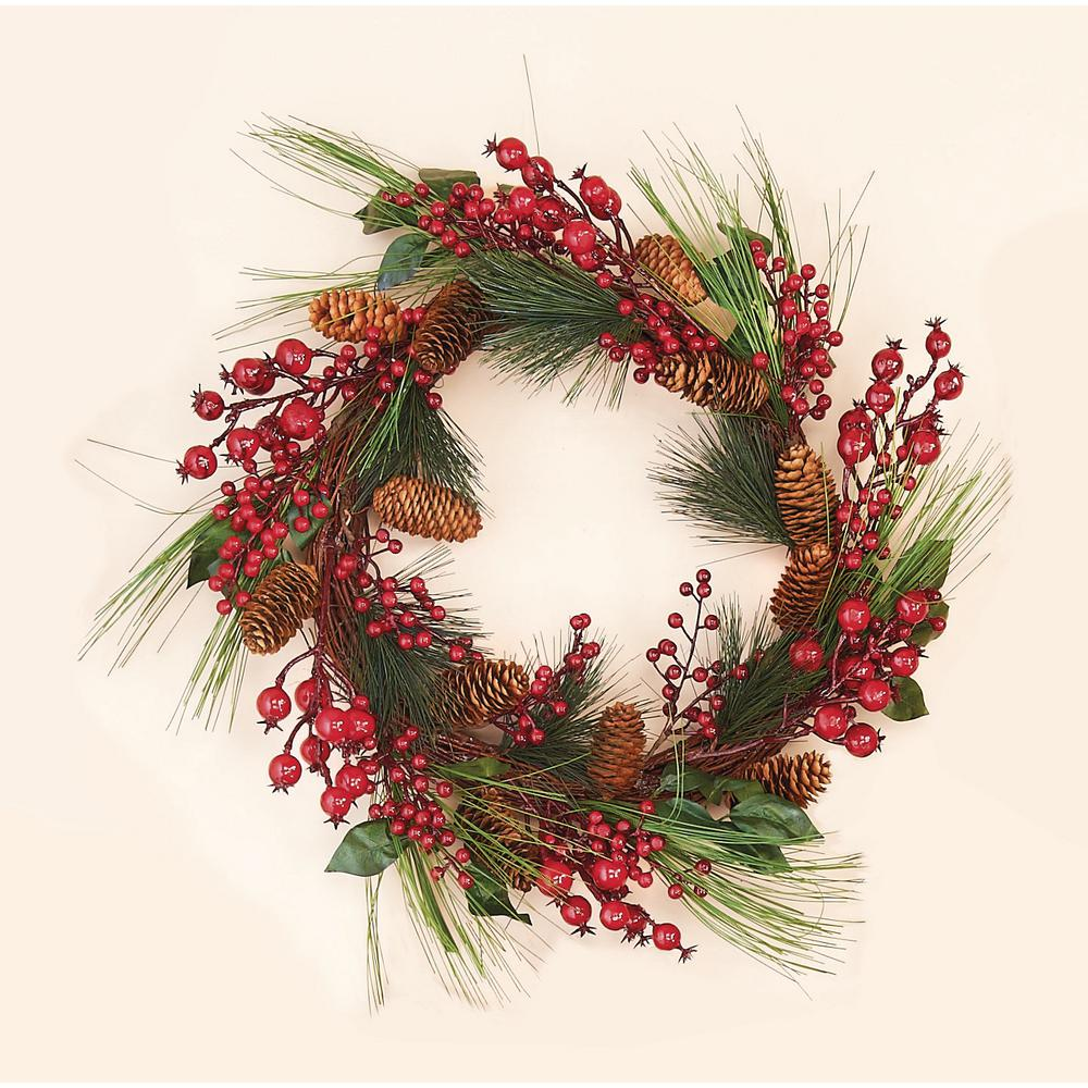 20 In Mixed Weatherproof Berry Wreath 7212 The Home Depot
