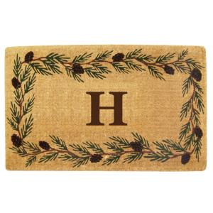 Nedia Home Evergreen 30 inch x 48 inch Heavy Duty Coir Monogrammed H Door Mat by Nedia Home