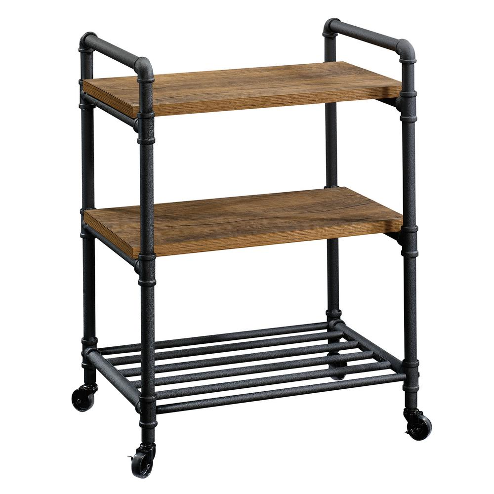 Iron City Checked Oak Multi-Purpose Cart