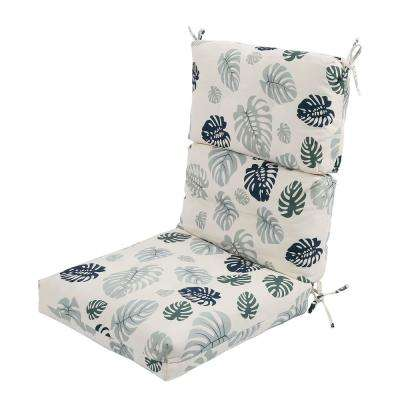 Green Tropical Rectangle Outdoor Dining Chair Seat Cushion