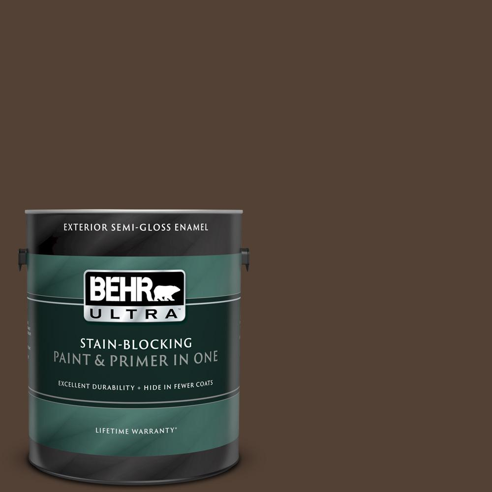 Behr Ultra 1 Gal Ppf 51 Dark Walnut Semi Gloss Enamel Exterior Paint And Primer In One 585301 The Home Depot