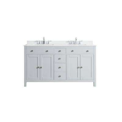 Austen 60 in. W x 22 in. D Bath Vanity in Dove Grey with Marble Vanity Top in Yves White with White Sinks