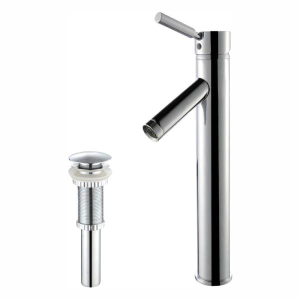 Sheven Single Hole Single-Handle Vessel Bathroom Faucet with Matching Pop Up Drain in Chrome
