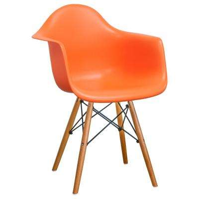 Paris Tower Orange Dining Arm Chair with Wood Legs (Set of 2)