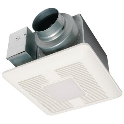 WhisperCeiling DC fan with LED lights, Pick-A-Flow Speed Selector 50, 80 or 110 CFM and Flex-Z Fast install bracket.
