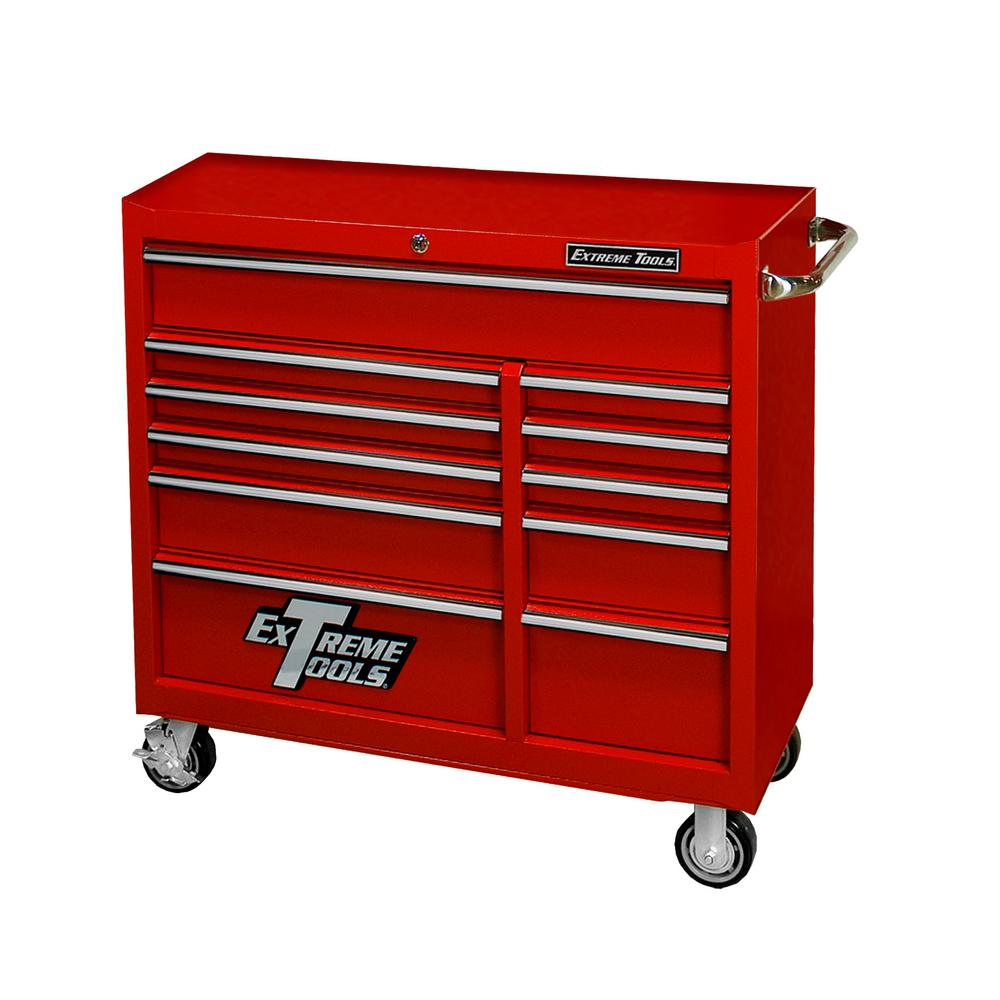 41 in. 11-Drawer Standard Roller Cabinet Tool Chest in Textured Red