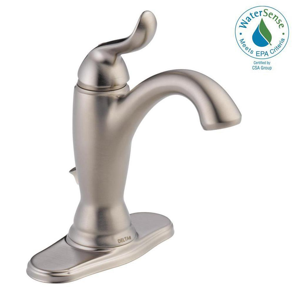 Delta Linden Single Hole Single-Handle Bathroom Faucet with Metal Drain Assembly in Stainless