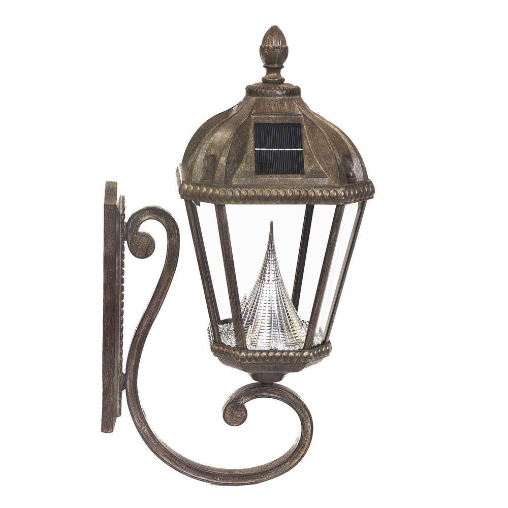 Gama Sonic Royal Solar Weathered Bronze Outdoor Wall Lantern