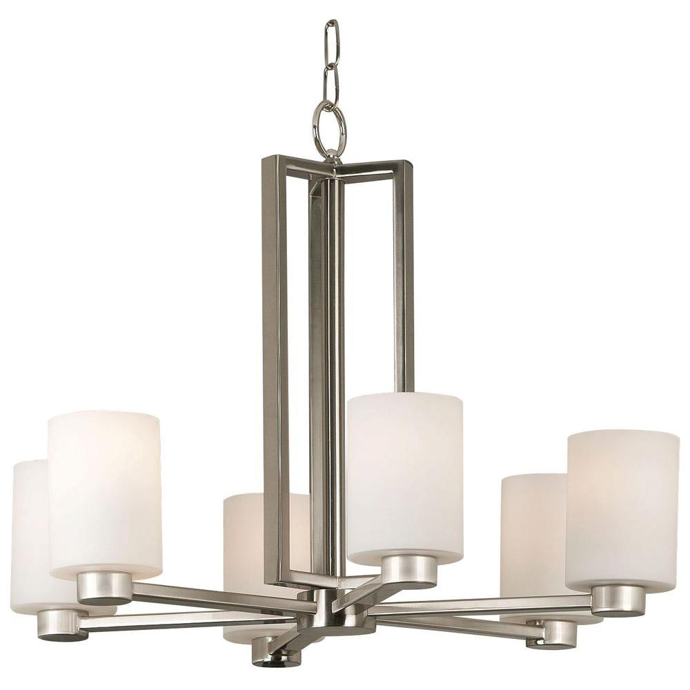 Kenroy Home Encounters 6-Light Brushed Steel Chandelier with Glass Shade