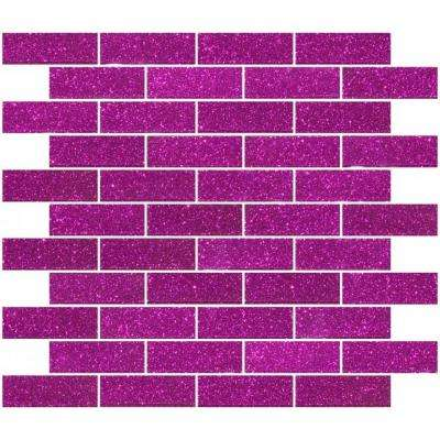 12 in. x 12 in. x 4mm Tile Esque Fuchsia Pink Glitter Glass Subway Mesh-Mounted Mosaic Tile