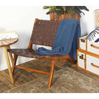 Brown Leather and Wood Loose Weave Lounge Chair