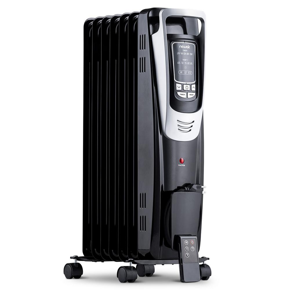 NewAir NewAir Premium 1500-Watt Electric Oil-Filled Smart Safety Compact Portable Radiant Space Heater with Remote Control - Black