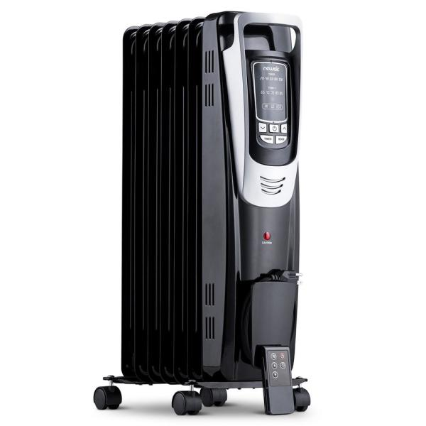 Portable1500-Watt Electric Oil-Filled Silent Radiator Heater with Energy Efficient Operation Cover 150 sq. ft. - Black