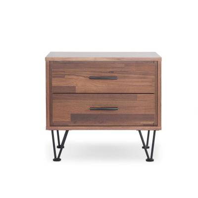 Deoss 2-Drawer Walnut Nightstand