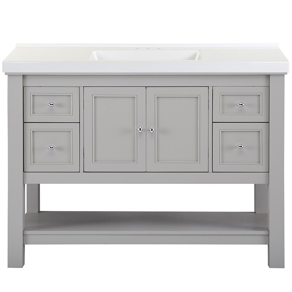 Home Decorators Collection Gazette 49 in. W x 22 in. D Bath Vanity in Grey with Cultured Marble Vanity Top in White with White Sink was $1259.0 now $755.4 (40.0% off)