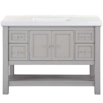 Gazette 49 in. W x 22 in. D Bath Vanity in Grey with Cultured Marble Vanity Top in White with White Sink