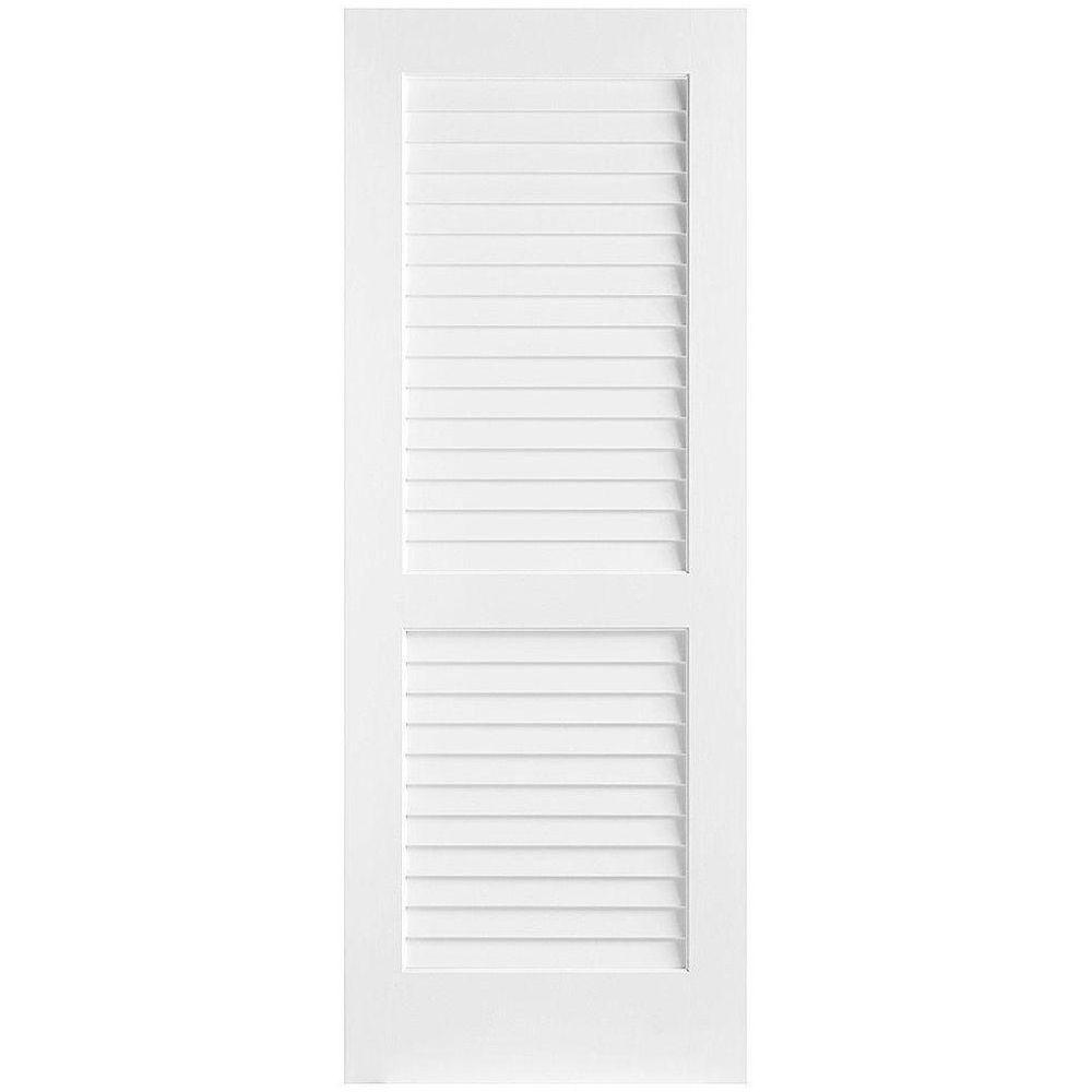 Masonite 36 in. x 80 in. Plantation Full-Louver Solid-Core Smooth Primed Composite Single Prehung Interior Door