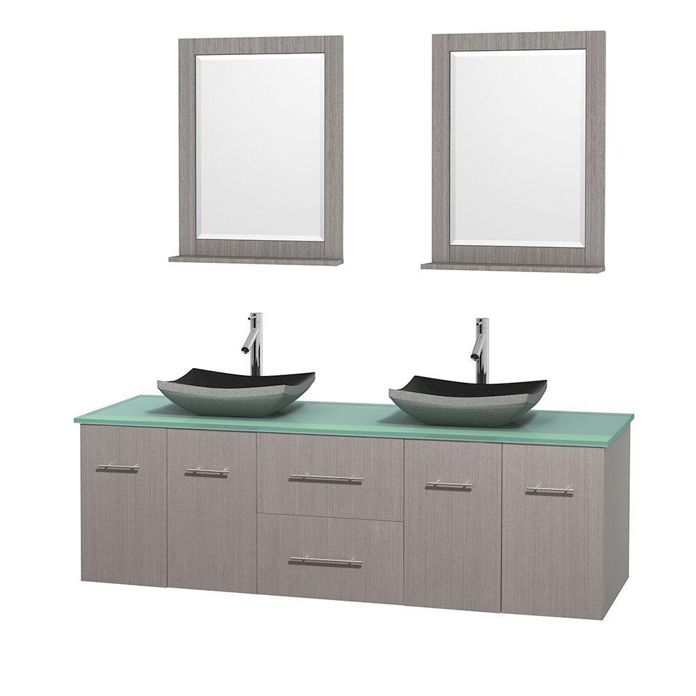 Double Vanity Gray Oak Glass Stone Vanity Top White 94