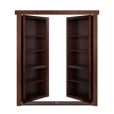 72 in. x 80 in. Flush Mount Assembled Maple Dark Stained Out-Swing Solid Core Interior French Bookcase Door