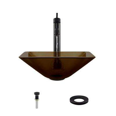 Glass Vessel Sink in Taupe with 718 Faucet and Pop-Up Drain in Antique Bronze