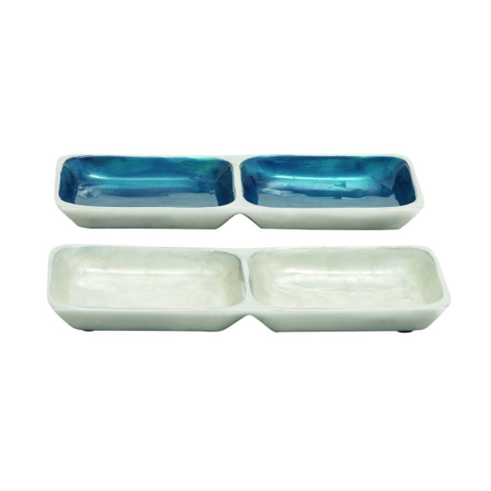 Benzara Versatile White and Blue Aluminum Section Tray