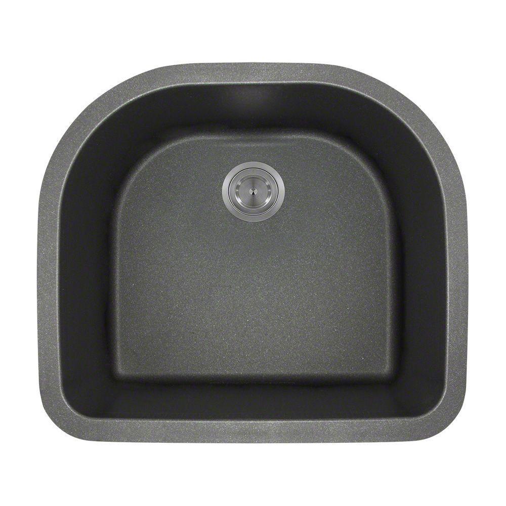 Polaris sinks undermount granite 25 in single bowl - Black kitchen sink undermount ...