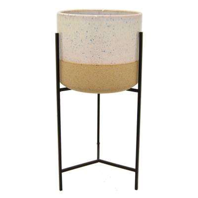 19.5 in. White Planter On Metal Stand