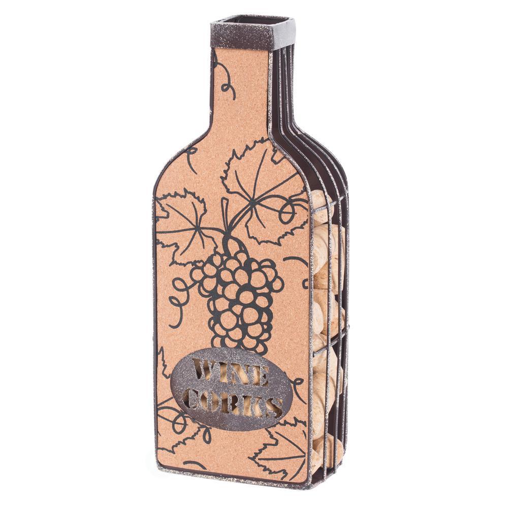 Vintage Metal Bottle Shaped Wine Cork Holder