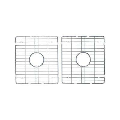 50/50 Double Bowl Fireclay Kitchen Sink Grid Set in Brushed Stainless Steel