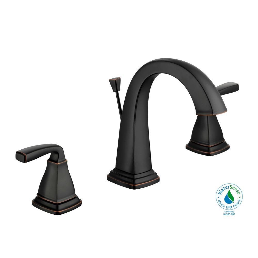 Mason 8 in. Widespread 2-Handle High-Arc Bathroom Faucet in Bronze