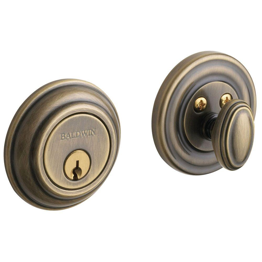 Baldwin Traditional Single Cylinder Satin Brass and Black Deadbolt
