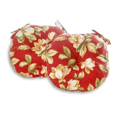 Roma Floral 18 in. Round Outdoor Seat Cushion (2-Pack)