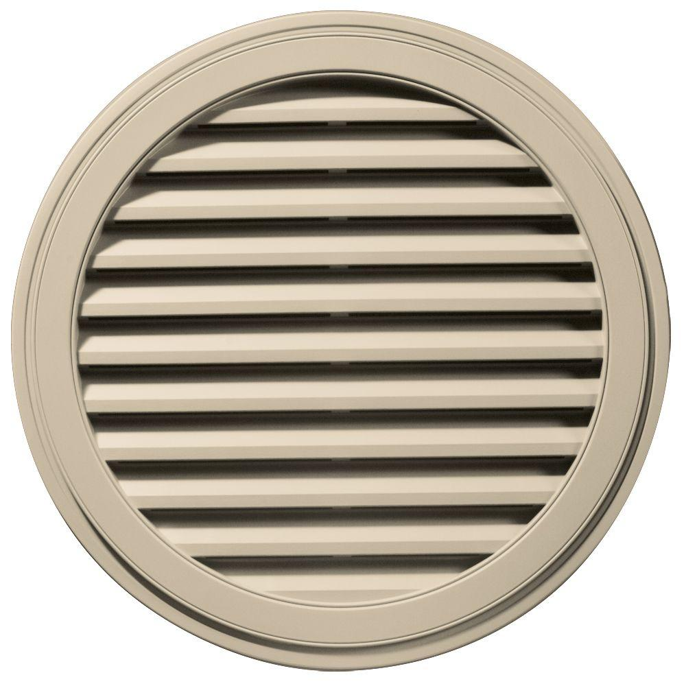 Builders Edge 36 in. Round Gable Vent in Almond