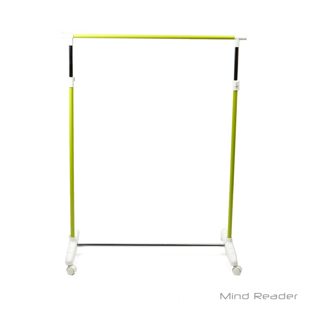 Mind Reader 35.24 in. W x 65.74 in. H Green Metal Garment Rack Keep your clothes wrinkle-free while taking up very little space. Have a spot to hang up extra clothes, jackets, towels and more. The wheels even make it easier for you to maneuver the rack where you need it. Color: Green.