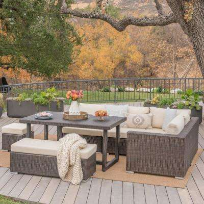 Multi-Brown 7-Piece Wicker Rectangular Outdoor Sofa Dining Set with Beige Cushion