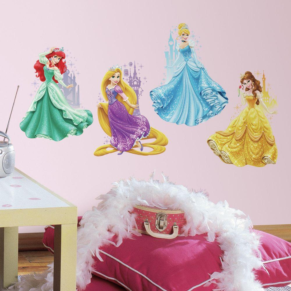 RoomMates 2.5 in. x 21 in. Disney Princesses and Castles Peel and Stick Giant Wall Decal (4-Piece)