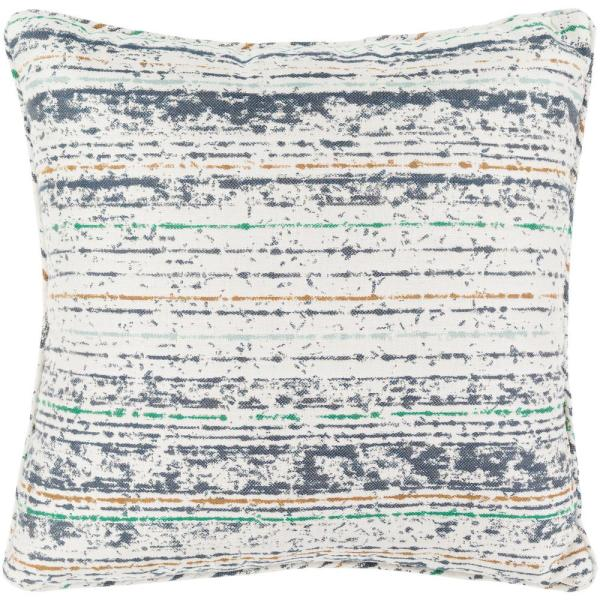 Marceline Navy Striped Polyester 16 in. x 16 in. Throw Pillow